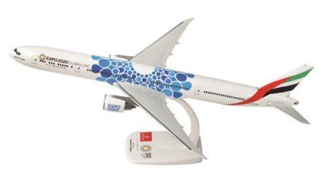 """Emirates B777-300ER A6-EPK """"Expo Dubai 2020"""" kék változat 1:200 PPC"""