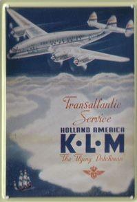 KLM Holland-America Transatlantic Route fém kisposzter levelezőlap méretű