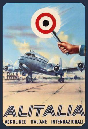 Alitalia DC-4 fém poszter 20x30cm