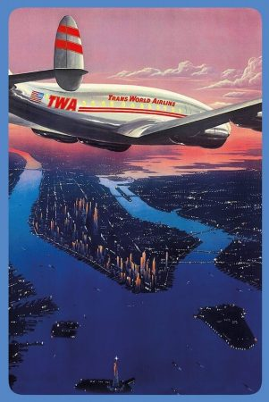 "TWA ""Manhattan New York City"" fém poszter 20x30 cm"