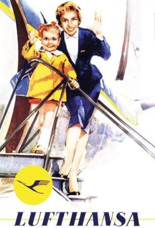 Lufthansa retro fém poszter integetős 20x30cm