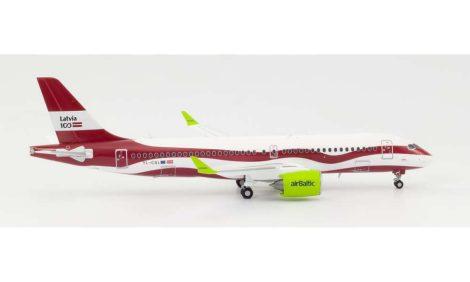 """Air Baltic A220 YL-CSL """"Latvia 100"""" 1:200 Herpa"""