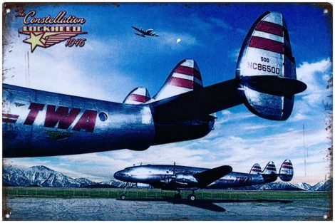 TWA Lockheed Constellation fém poszter 20x30cm